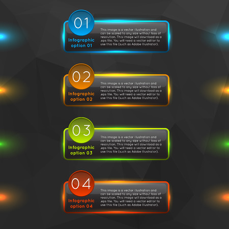 Glowing glass infographics options. Vector