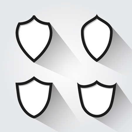 Vector set of modern black and white shields. Vector