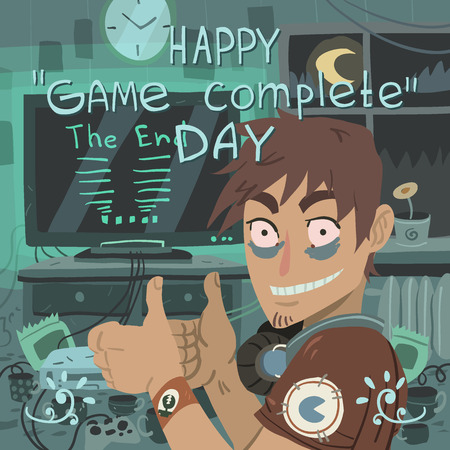 complete: Happy game complete day greeting card.