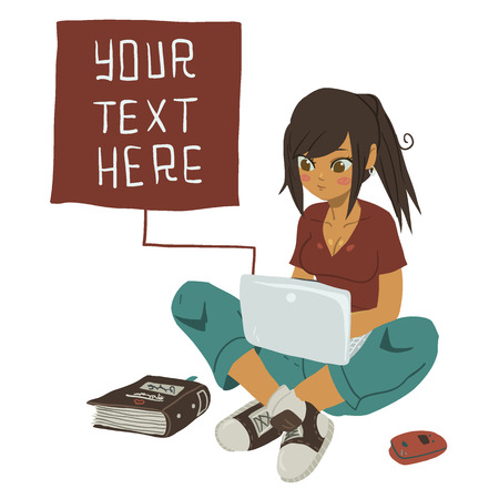 cells: Girl Writing Text Message on notebook.