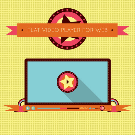 video player: Retro vintage video player interface for web. Illustration