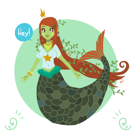The vector image icon cute young mermaid. For ui, web games, tablets, wallpapers, and patterns. Vector