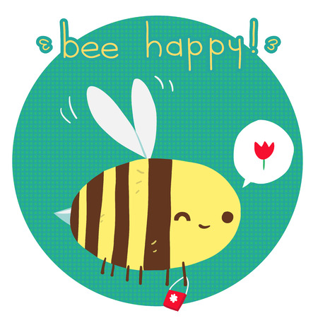 The vector greeting card with cartoon funny bee for ui, web games, tablets, wallpapers, and patterns.