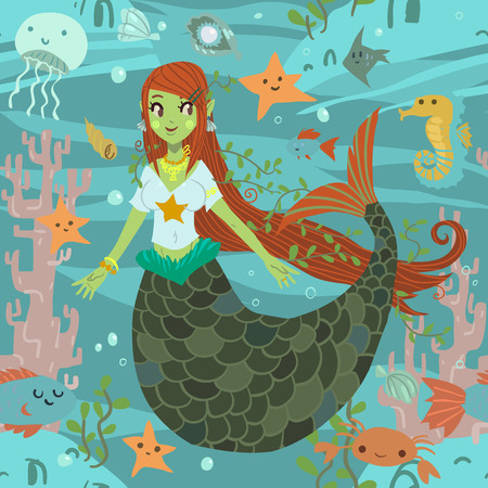 adult mermaid: The vector pattern with cute young mermaid and ocean stuff for games presentations, ui tablets, smart phones. Illustration