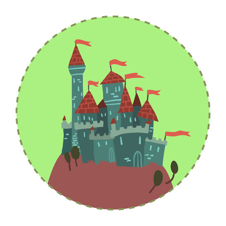 fortified: The vector illustration of cartoon castle on a hill for ui