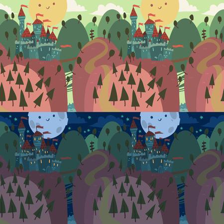 drawbridge: The vector illustration of cartoon castle on a hill.
