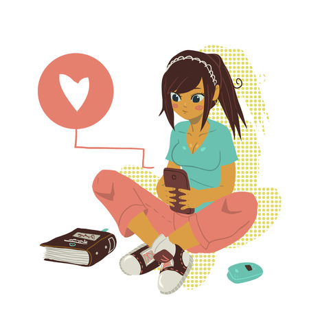 college student: The illustration of young cartoon girl writing message on her mobile phone