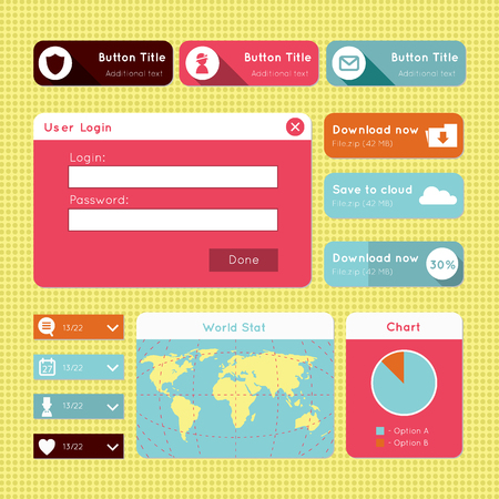 interface design: design of member login, download, world map, statistics and drop down buttons. For smartphones, games, and tablets. Illustration