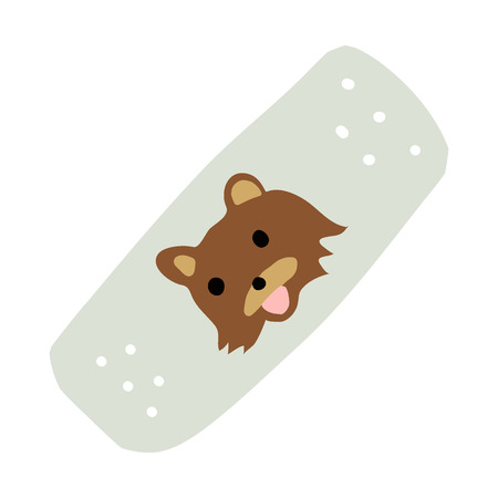 wound care: The illustration for web games, tablets, wallpapers, and patterns. With brown teddy bear.