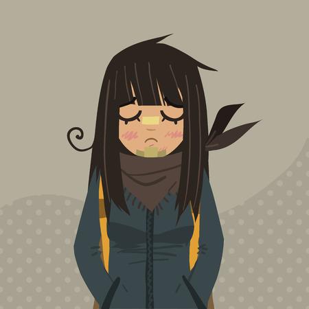 fille triste: L'illustration pour ui, jeux sur le Web, des comprimés, des papiers peints, et de motifs.