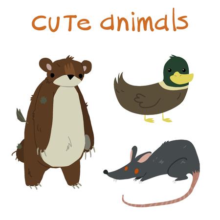 rata caricatura: Conjunto de animales. Con osito de peluche, pato y la rata mascota icono plana. Vectores
