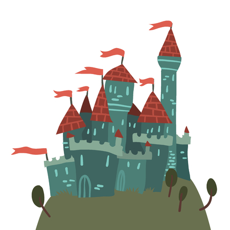 fortified: The vector illustration of cartoon castle on a hill for ui, web games, tablets, wallpapers, and patterns. Illustration