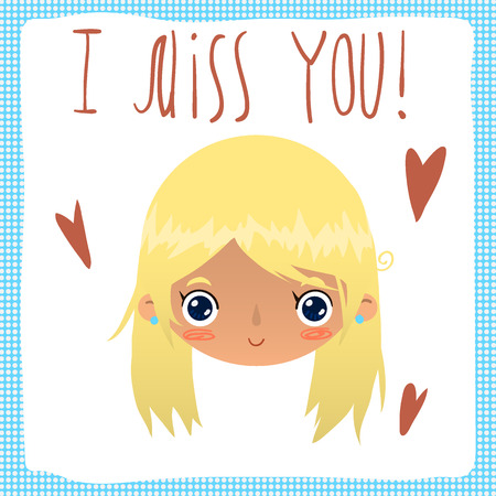 smart card: Vector cartoon romantic card. For game presentation, user interface tablet, smart phone. With cute girl face. Illustration