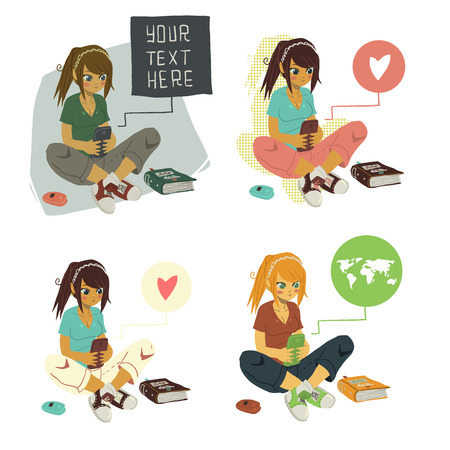 post teen: The vector illustration of young cartoon girl writing message on her mobile phone for ui, web games, tablets, wallpapers, and patterns. Illustration
