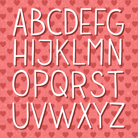 roman alphabet: The vector Roman alphabet for ui, web games, tablets, wallpapers, and patterns. Valentines Day.