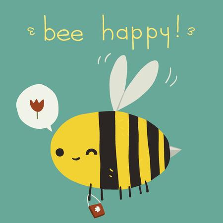 abeja caricatura: La tarjeta de felicitación del vector con la abeja divertidos dibujos animados para la interfaz de usuario, juegos web, tabletas, fondos de pantalla, y los patrones. Vectores