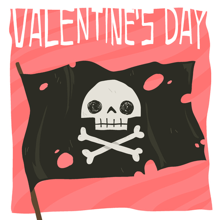 Flat greeting card. For game presentation, user interface tablet, smart phone. With cute pirate flag. Ilustração
