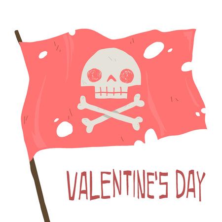 Flat greeting card. For game presentation, user interface tablet, smart phone. With pink cute pirate flag. Ilustração