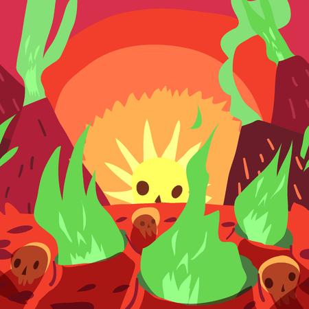 The funny halloween vector postcard illustration for ui, web games, tablets, wallpapers, and patterns. Ilustração