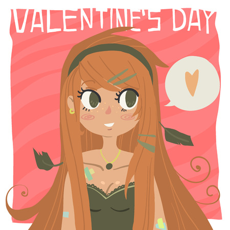 Flat greeting card. For game presentation, user interface tablet, smart phone. With cute ginger red head girl. Ilustração