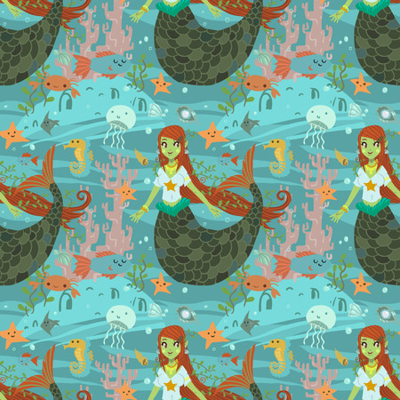 The vector pattern with cute young mermaid and ocean stuff for games presentations, ui tablets, smart phones. Ilustração