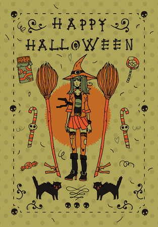 Vector for web, postcards, greeting cards, invitations, pattern fills, surface textures. With young pretty witch, black cat and broom.