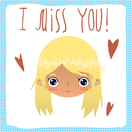 Vector cartoon romantic card. For game presentation, user interface tablet, smart phone. With cute girl face. Imagens