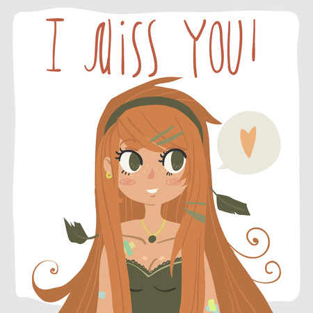 Vector cartoon romantic card. For game presentation, user interface tablet, smart phone. With cute ginger red head girl. Imagens