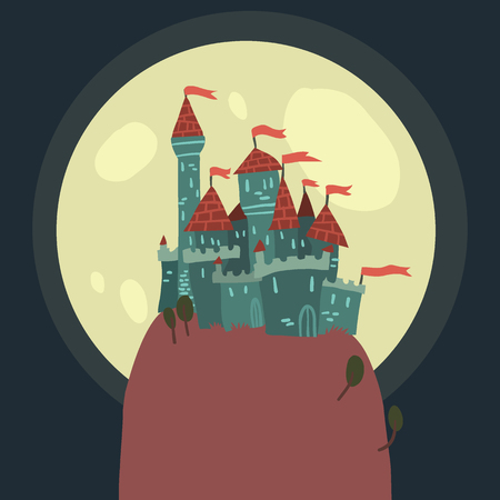 The vector illustration of cartoon castle on a hill for ui, web games, tablets, wallpapers, and patterns. Ilustração