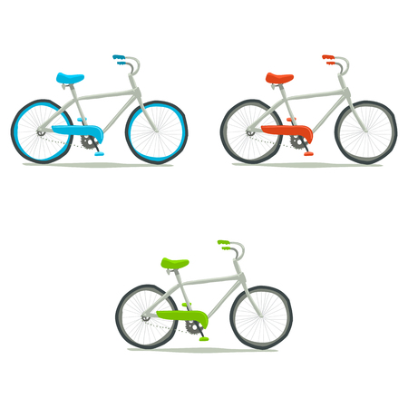Vector hand drawn illustration of tiny cute green, red, blue bicycle. For ui, games, and patterns.
