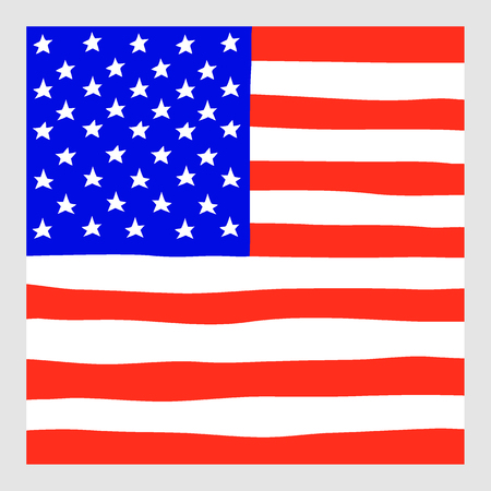 The vector hand draw squared flag of USA. Imagens - 68036627