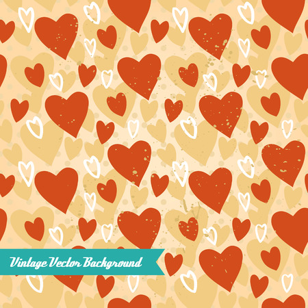 The vector hand draw background. Best for wedding cards, bedroom, bags. Hearts Ilustração