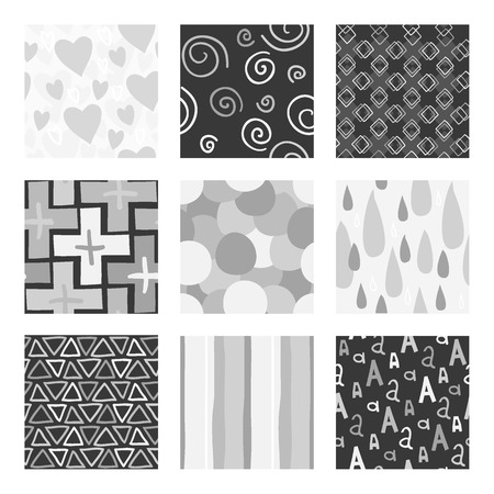The vector set of 9 unique random hand draw patterns. Best for wedding cards, bedroom, bags.