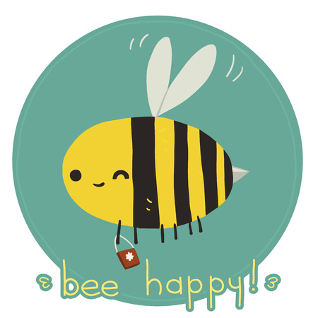 The vector greeting card with funny bee mascot icon. For ui, web games, tablets, wallpapers, and patterns.