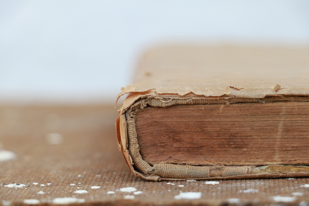bibliography: Old book closeup Stock Photo