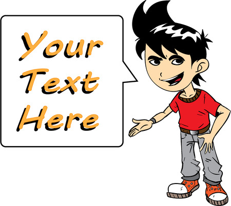 Boy With Text, a hand drawn character trying to say something on a text bubble. 向量圖像