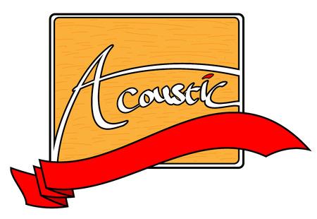 Akoestisch logo, een logo met gestileerde akoestische woord op het met een houtnerf motief achtergrond, gelaagd met rood lint banner die is bewerkt.