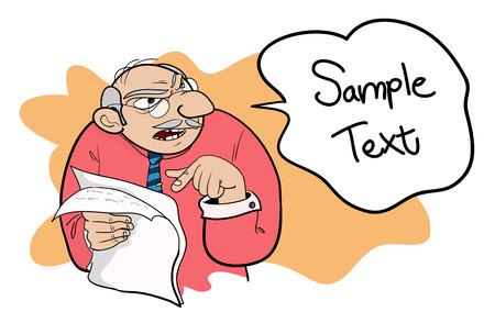 jefe enojado: Angry Boss, un ejemplo del vector dibujado a mano de un jefe quejándose editable. Vectores