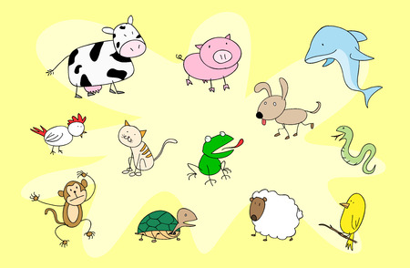 Animal Doodle Set, a hand drawn vector illustration of various animals, isolated on a simple background all objects are on their own separate groups, including background for easy editing.