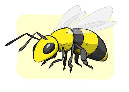 蜂、蜂、編集可能なシンプルな背景で隔離の手描きのベクトル図です。