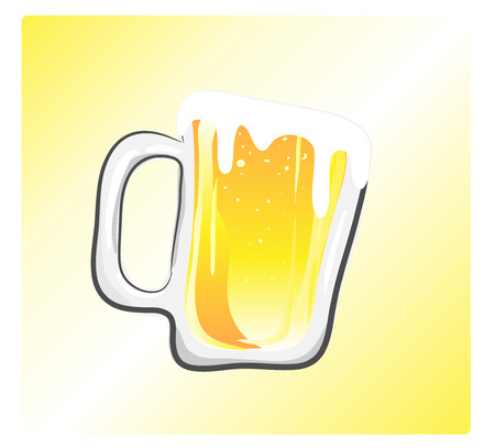 Beer, a hand drawn vector illustration of a glass of beer, isolated on a simple background editable.