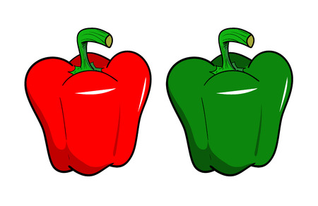 red pepper: A hand drawn vector illustration of fresh Bell Peppers, isolated on a white background. Illustration