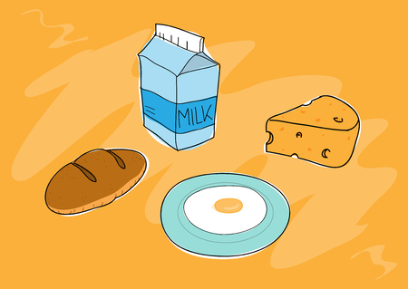 sunny side up eggs: Breakfast Food, a hand drawn vector illustration of breakfast food Illustration
