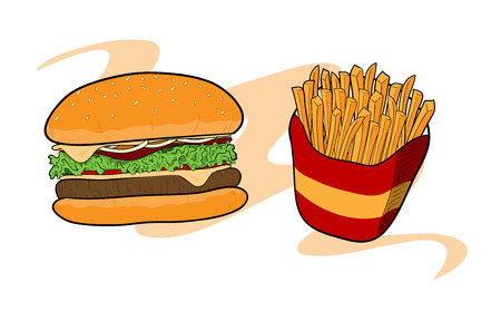 burger with fries: Burger  Fries, a hand drawn vector illustration of a burger and fries