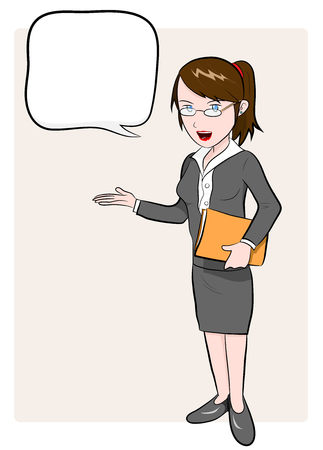 Business Woman, a hand drawn vector illustration of a business woman with text  イラスト・ベクター素材