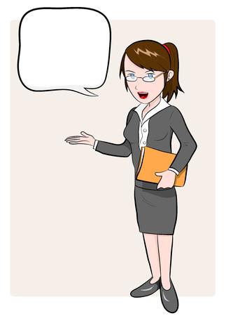 introducing: Mujer de negocios, un ejemplo del vector dibujado a mano de una mujer de negocios con el texto Vectores