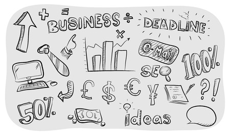 business meeting: Business Theme Doodle Set, a hand drawn business theme vector doodle set