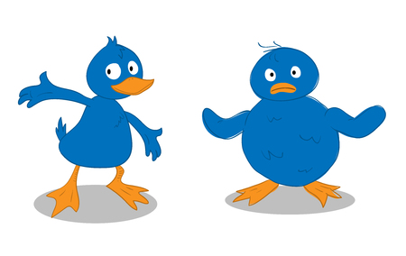 duckling: A Blue Duckling  A Blue Chick, a hand drawn vector illustration of a blue duckling and a blue chick Illustration