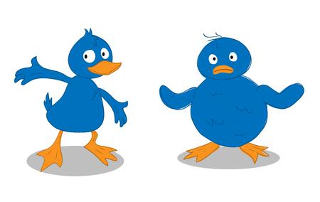 A Blue Duckling  A Blue Chick, a hand drawn vector illustration of a blue duckling and a blue chick Illusztráció
