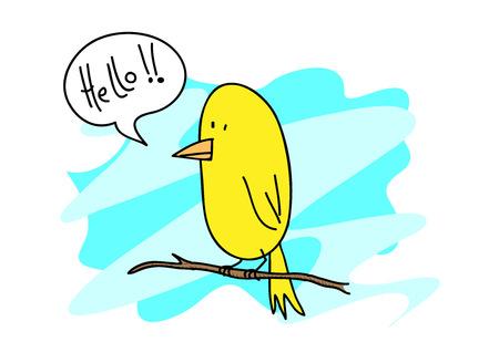 Canary Bird, A hand drawn vector illustration of a cute canary bird standing on a twig editable. Ilustração